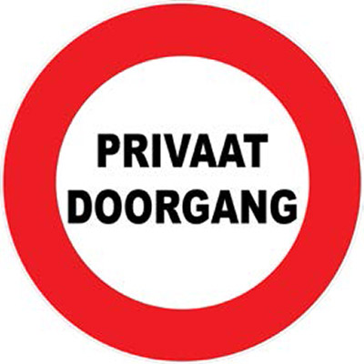 Bord private doorgang